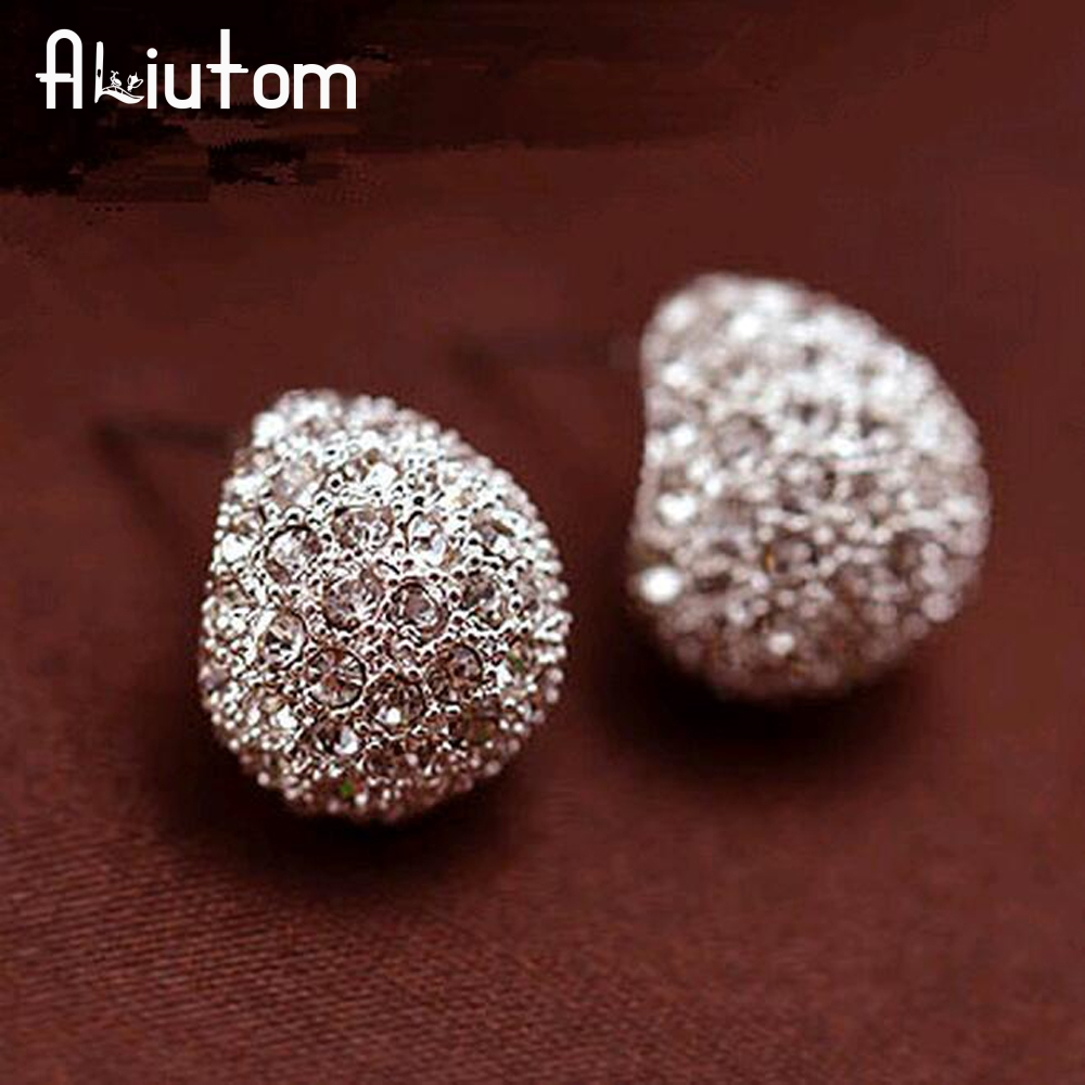 ALIUTOM Jewerly Fashion Vintage Full Crystal Crescent Stud Earrings Beatles Earring For Woman New 2018 Christmas Gift Wholesale