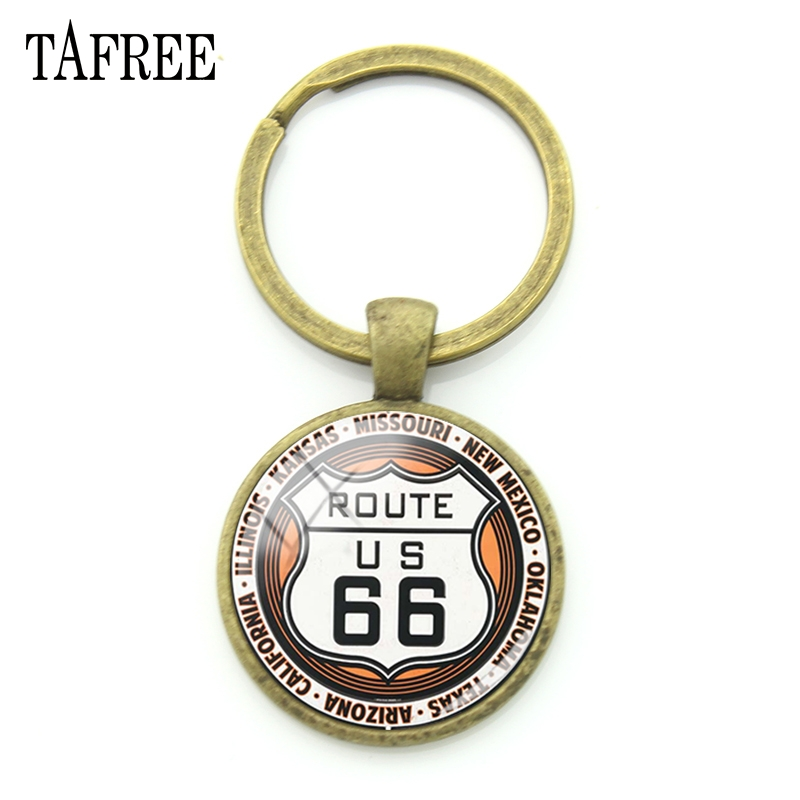 TAFREE USA Route 66 Route Signs Keychains Fashion Trendy Key Chains Keyrings Metal Pendant For Car Keys Best Friend Jewelry UR08