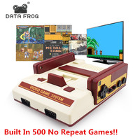 DATA FROG Mini Game Console Family TV Handheld Game Consoles 8 Bit Video Game Built In 500 No Repeat Games For Children