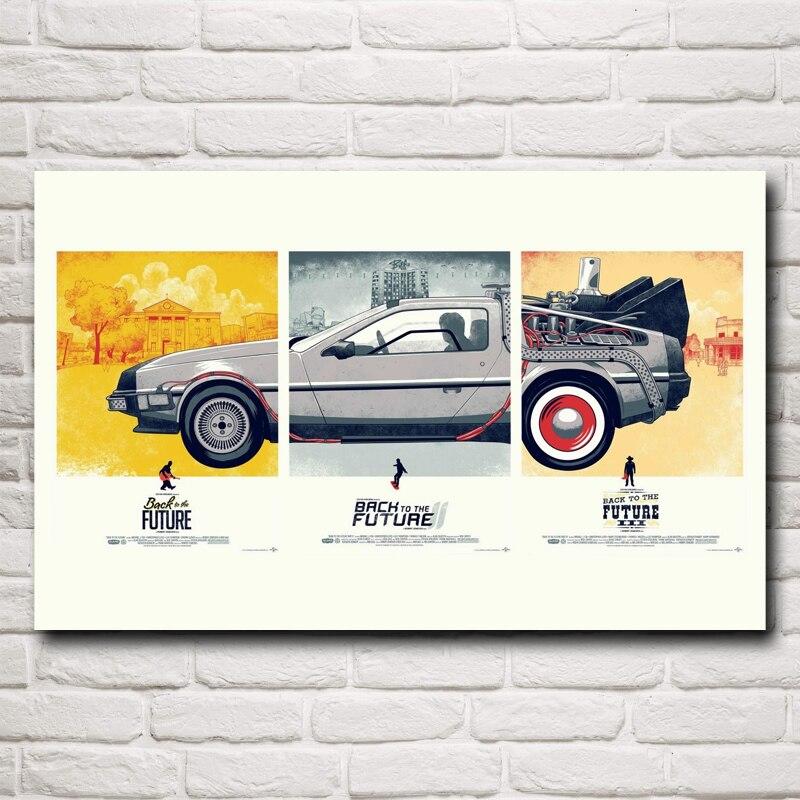 FOOCAME 클래식 영화 다시 미래의 빈티지 포스터 및 인쇄 벽 예술 실크 그림 거실 장식 그림