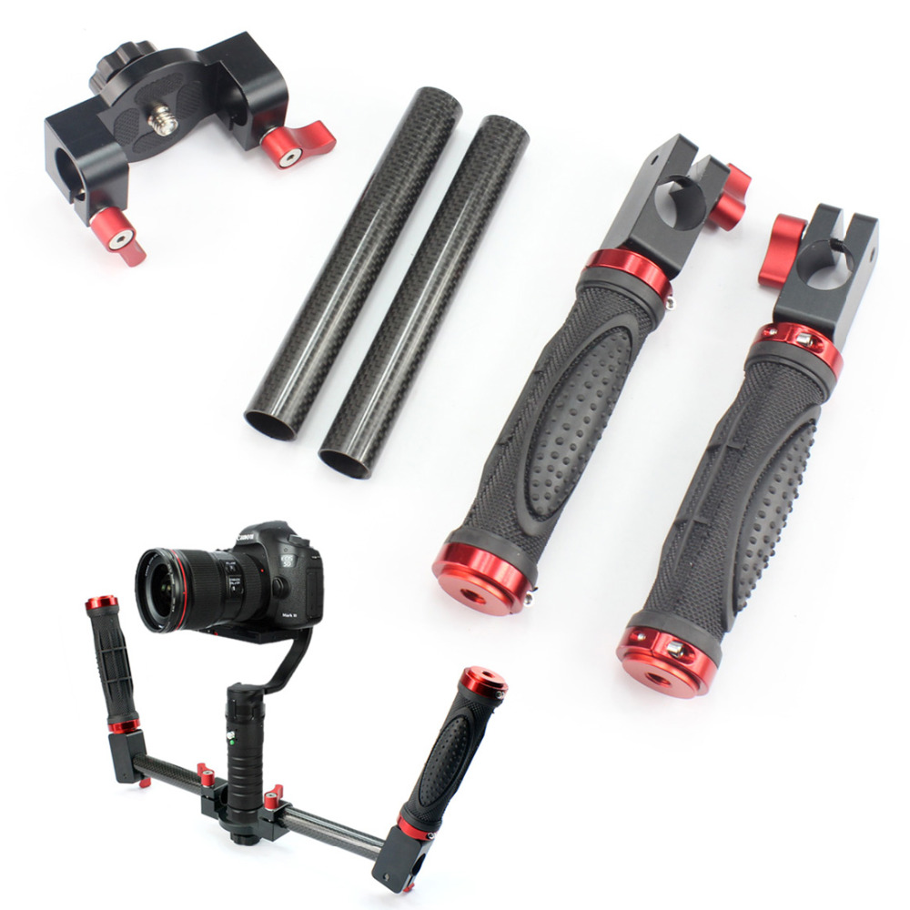 Carbon Fiber Dual Handle HandHeld Kit for DSLR Micro-Single Camera Mount Beholder DS1 MS1 SMG EVO Stabilizer F17803 beholder d2 carbon fiber dual handle grip with arch rectangular plate and pergear magic stickers for beholder ds1 ms1 stabilizer