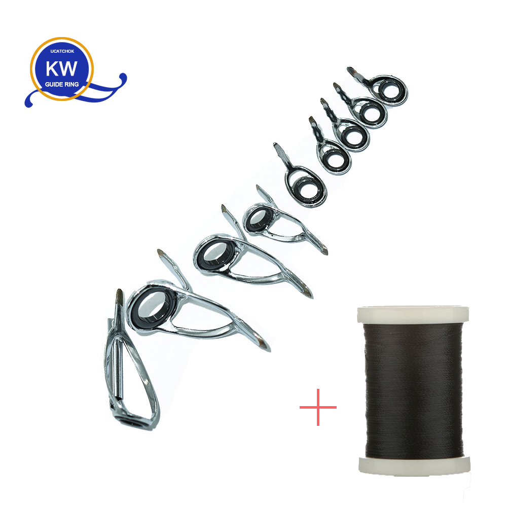 5sets 9pcs/set Baitcasting Rod SiC Stainless Steel Guide Ring DIY Rod Ring Accessories Rod Building Component Accessory Parts