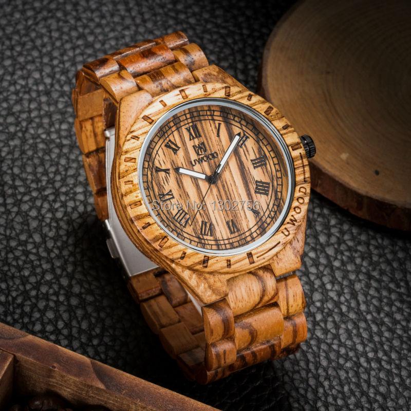 Uwood Natural Handmade Zebra Sandal Wooden Watches For Men Luxury Watch MIYOTA Quartz Retro Antique Sandalwood