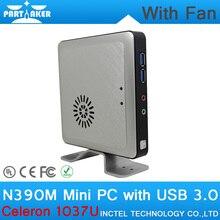 8 Г ОЗУ 256 Г SSD Celeron 1037U N390M Экологических Мини-ПК с Алюминиевого Сплава Shell поддержка Wi-Fi Bluetooth Linux