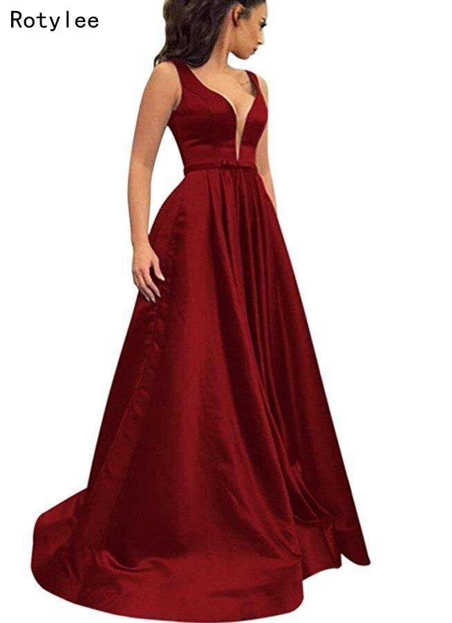 A-ligne Satin longues robes de bal avec ceinture Simple Robe de soirée femmes Robe formelle
