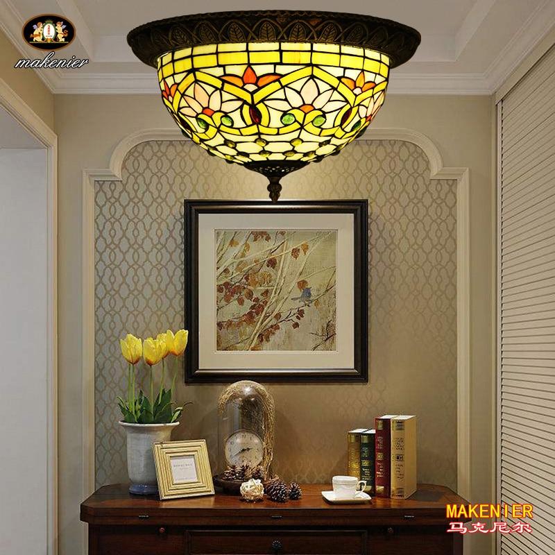 Makenier винтажный Тиффани стиль красный витраж Стрекоза заподлицо потолочный светильник, 12 дюймов абажур