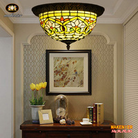 Makenier Vintage Tiffany Style Red Stained Glass Dragonfly Flush Mount Ceiling Light Fixture 12 Inches Lampshade