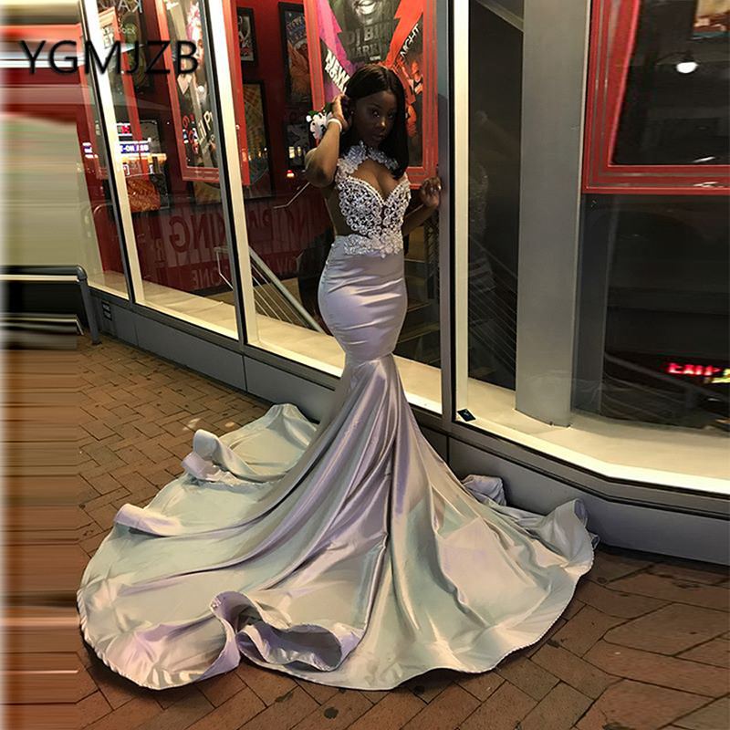 Silver Sparkly Crystals Long Mermaid Evening Dresses 2019 Black Girl Prom Gown African Women Formal Prom Party Dress