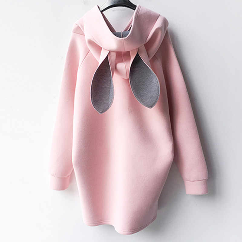 2018 새로운 가을 겨울 임신 한 여자 복장 토끼 귀 두건이있는 스웨터 캐주얼 임신 느슨한 출산 후드 플러스 크기