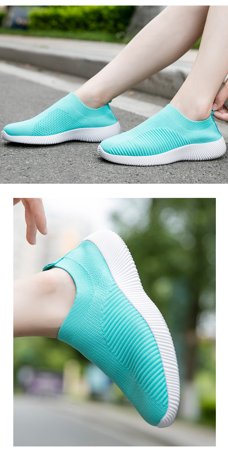 Slip On Flying Knit Women Fashion Sneakers Breathable Flat Heel Casual Shoes Round Toe Low Top Women Shoes XU034 (10)