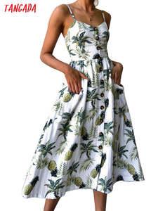 Tangada Summer Women 2019 Vintage Sexy Beach Dress Sundress