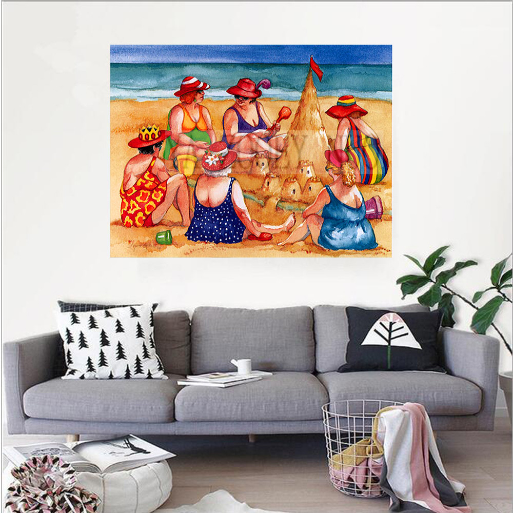 "YA ZOOEY NUO DIY Diamond Painting ""Beach woman"" Embroidery Full Diamond Cross Stitch Rhinestone Mosaic Painting Decor gift K1663"
