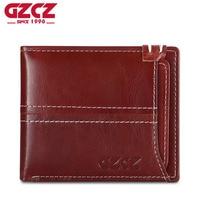 GZCZ Red Genuine Leather Women Wallet Detachable Credit Card Lady Walet Female Zipper Super Thin Bifold