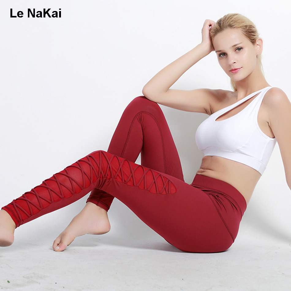 Breathable High Waist Side Cross Strapy Mesh Panel Yoga Pants for Women Chic Gym Sports Legging Elastic Pants Running Trousers