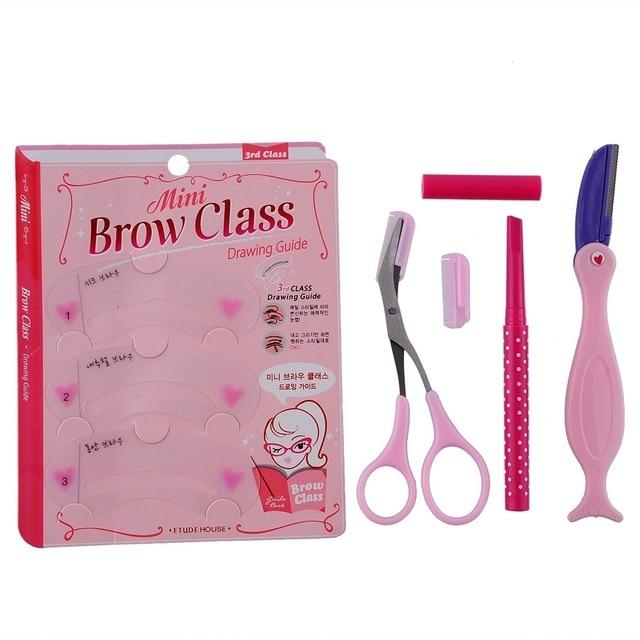 4 in One Set Eyebrow Stencil Cutter Card Thrush Plate Eyebrowline Template Draw Eyebrow Template with Brown Eyebrow Pencil 2