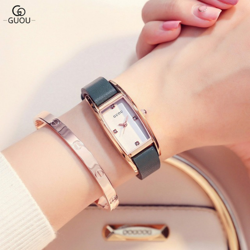 GUOU Watches Women Fashion Watch Spring Brand Luxury Crystal Sparkling Glasses Fashion Leather Strap Quartz Clock For Women 2018 fashion venetian pearl decoration sunglasses brand designer luxury women round sun glasses shades spring summer style eyewear