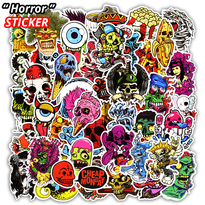 50 Pcs Mixed Horror Stickers for Luggage Laptop Skateboard Bicycle Motorcycle Car Styling Decals Terror Cool Waterproof Sticker
