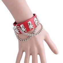 Alternative rock skeleton head rivet exaggerated pirates hand chain bracelet jewelry fashion punk wind