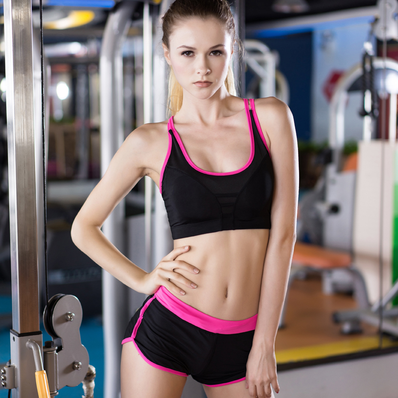 d93aa7597e Hot Summer Yoga Tops Sports Bra Costumes For Women Fitness Tracksuit Gym  Yoga Compression Shorts And Bras Black Gym Yoga Sets on Aliexpress.com