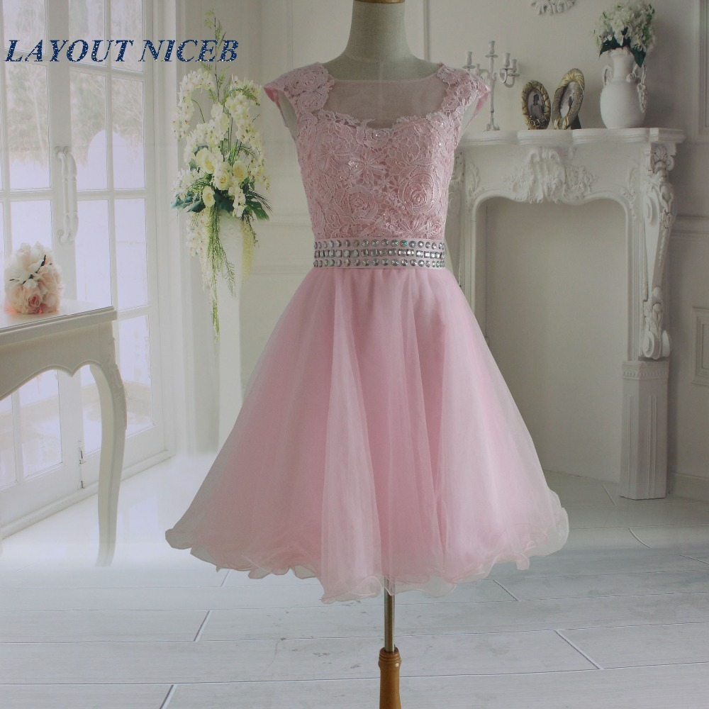 2017 Fashion New Pink Lace Illusion Short Prom Dresses vestidos de formatura curto Party Gowns Latest Dress Designs