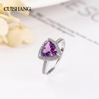 CSJ Natural Purple Amethyst Rings 925 Silver Fine Jewelry For Women Wedding Engagement Party Valentines gift