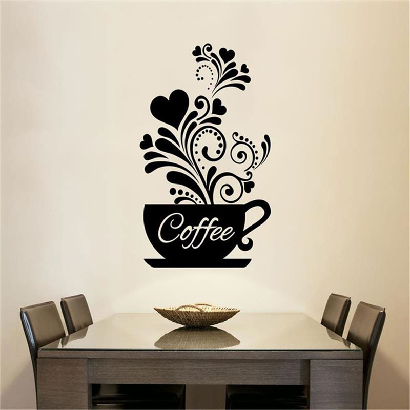 Coffee Cup Love Wall Sticker Vinyl Restaurant Kitchen Personalized DIY Home Decor Art CF29