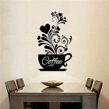 Coffee Cup Love Wall Sticker Vinyl Sticker Restaurant Kitchen Personalized Wall Sticker DIY Home Decor Art Sticker CF29 coffee time waterproof cup wall sticker