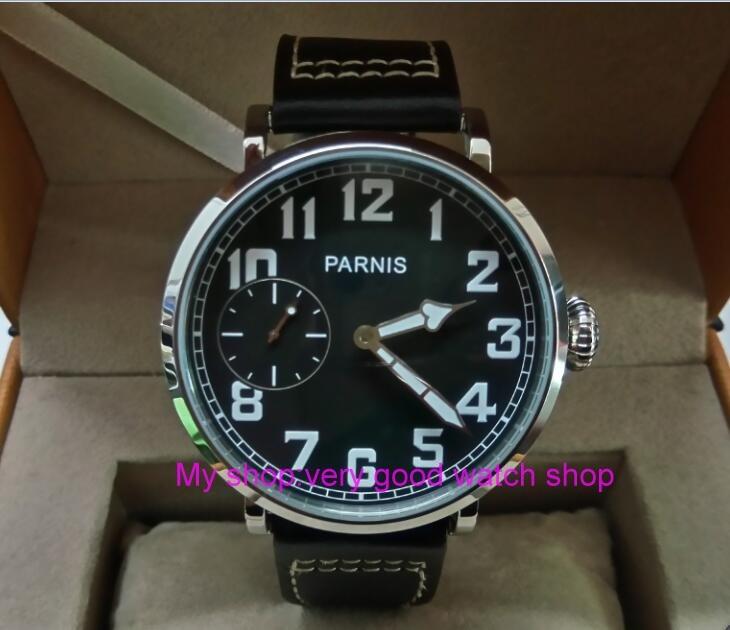 46mm parnis Black dial Asian 6497 17 jewels Mechanical Hand Wind movement men watch luminous Mechanical watches zdgd250A цена и фото