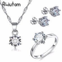 hot deal buy aliutom hot silver color fashion jewelry sets cubic zircon statement necklace & earrings rings wedding jewelry for women gift