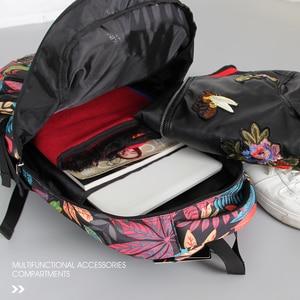 Image 2 - Aoking Waterproof Women Backpack Large Breathable School Day Pack Laptop Bag Casual Travel Nylon Floral Girls Backpack Printing