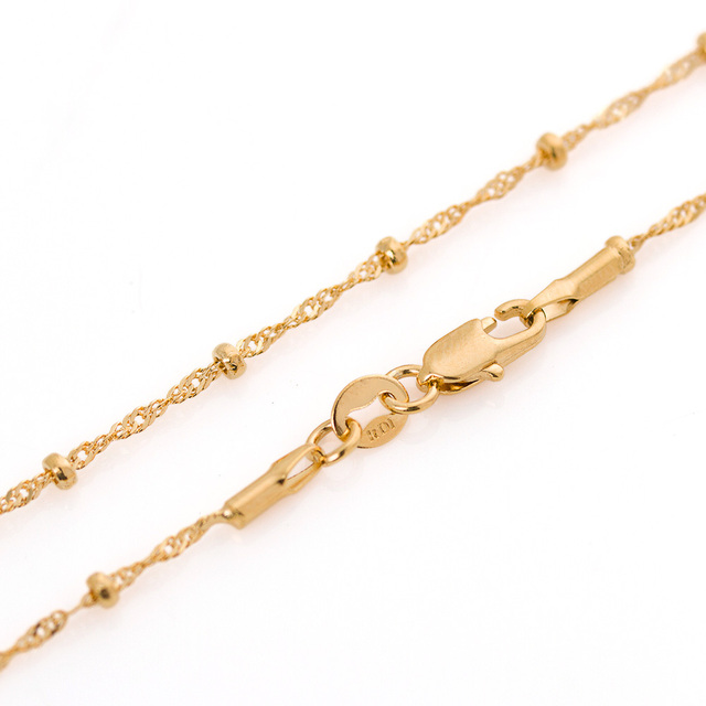 High-quality wild water ripple necklace fashion twisted beads chain 18inch 1 Gold Color  filled Women men thin Chain Necklace
