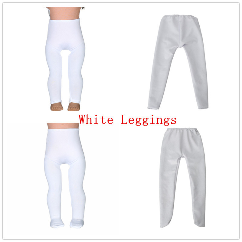 2 Color White Leggings Tight Pants Fit 18 Inches American  Doll Baby Doll Clothes Accessories Handmade Fashion Pants Clothe