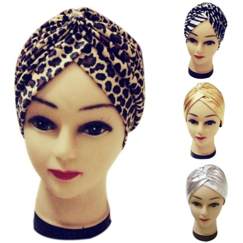 1PC Women Hat India Casual Pleated Stretchable Bathing Turban Hat 2018 New Fashion Hot Sale Head Cover Sun Cap #M10