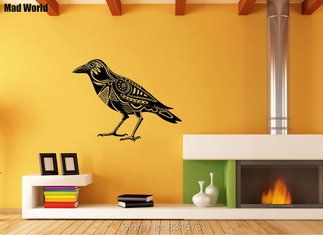 Mad World Raven Bird Crow Animals Silhouette Wall Art Stickers Wall ...