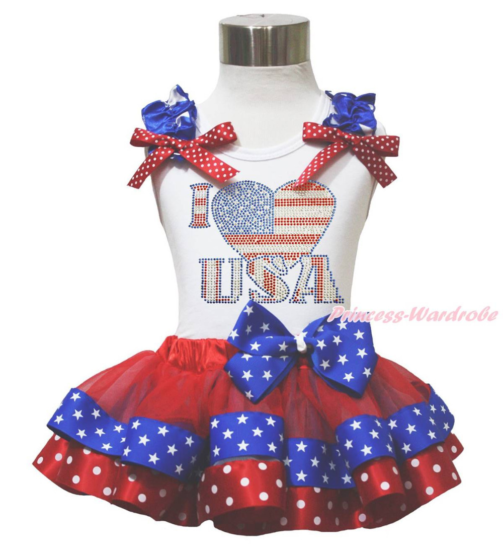 ФОТО White Top 4th July I LOVE USA Patriotic Star Dot Satin Trim Girls Skirt NB-8Year MAPSA0680