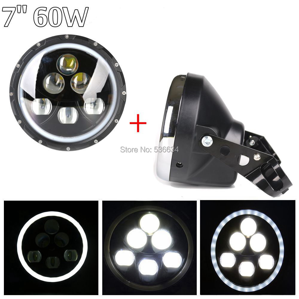 7 inch led headlight Daymaker Projector with angel eyes and Lamp sheel or Headlamp Shell for Honda,Hornet,Suzuki,Yamaha