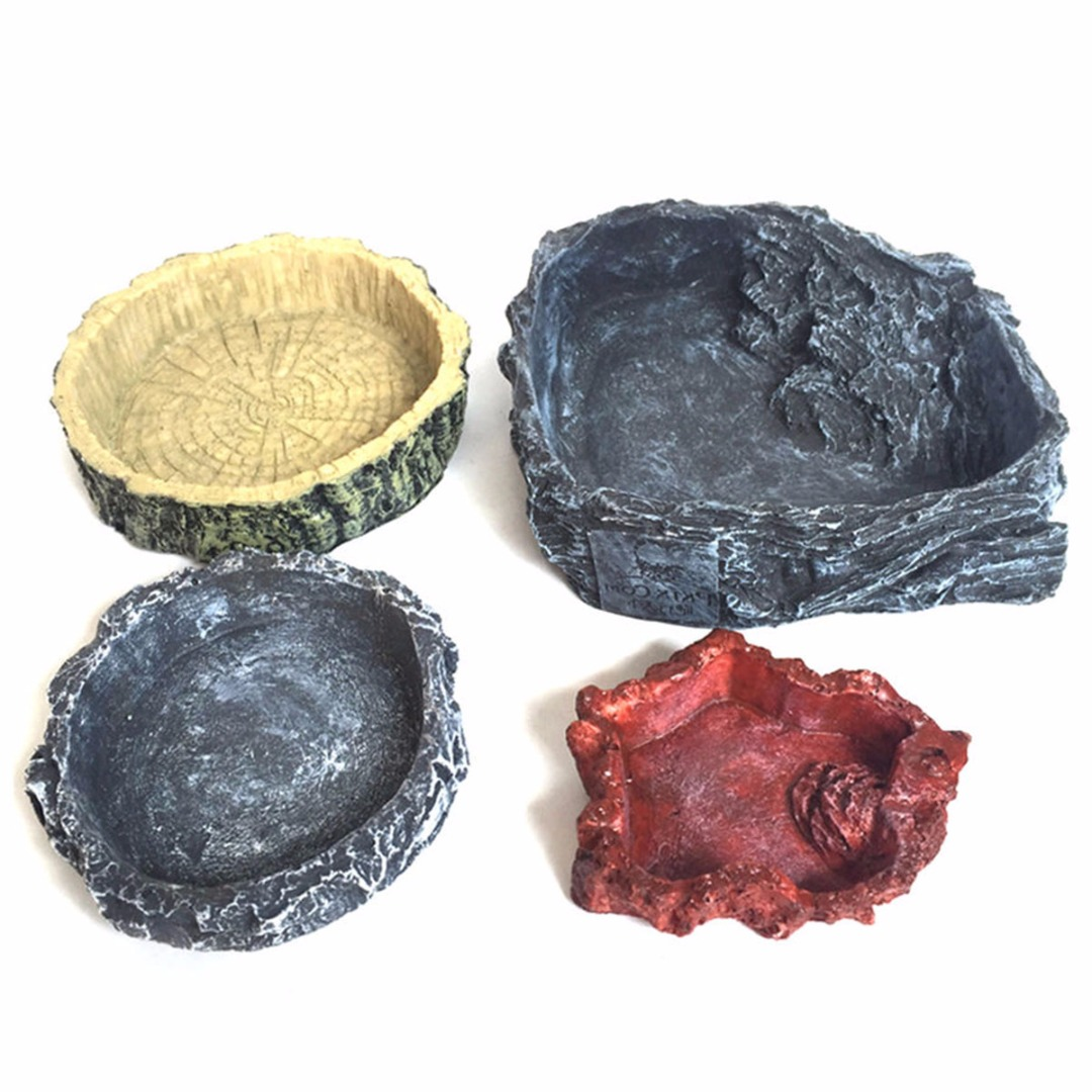 New Reptile Food Water Dish Bowl Feeder Tortoise Lizard Turtle Amphibian Feeding Pot