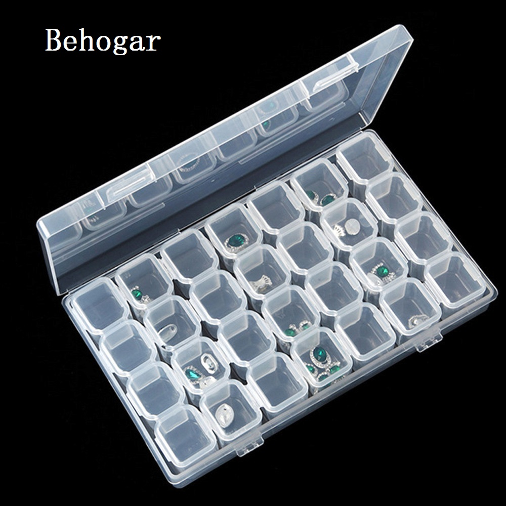 Behogar-cajas de almacenamiento de 28 rejillas, 11x17CM, contenedor de maquillaje, organizador para uñas, collar, anillos, pendientes, accesorios de joyería