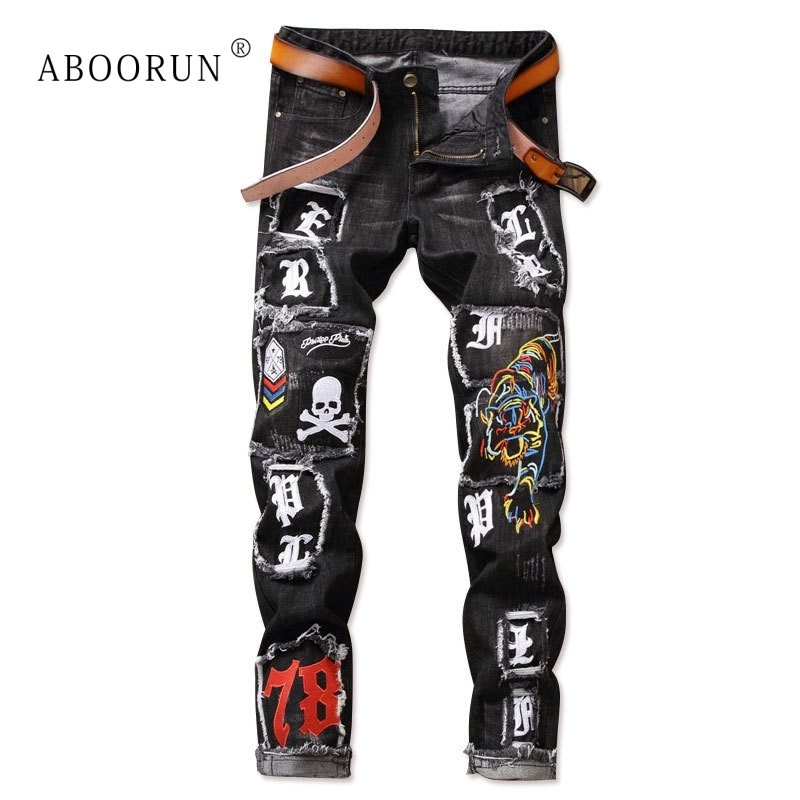 ABOORUN Fashion Men's Punk Jeans Tiger Skull Embroidery Jeans Nightclub Patchwork Denim Pants For Male YC1161