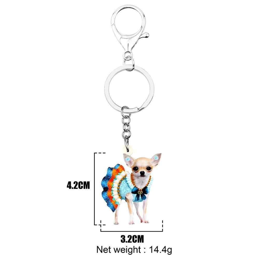 Bonsny Acrílico Moda Colorida Saia Cão Chihuahua Chaveiro Chave Anéis Anéis Únicos Encantos Animais Jóias Para Mulheres Meninas Adolescentes Presente