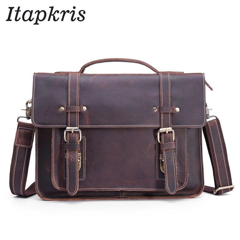 Men Genuine Leather Business Briefcase Vintage Tote Real Cowhide Laptop Handbag Designer Large Cross Body Messenger Shoulder Bag