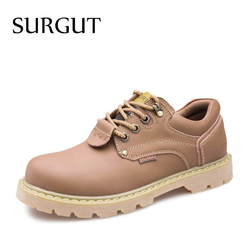 SURGUT 2018 Mode Confortable Occasionnels Chaussures Oxfords Hommes Chaussures Qualité Split En Cuir Chaussures Hommes Appartements Vente Chaude Hommes Chaussures de Travail