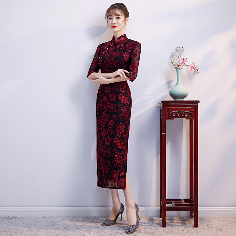 Qipao Sexy Femmes Bouton Printemps 1 Chinois Robe Mode