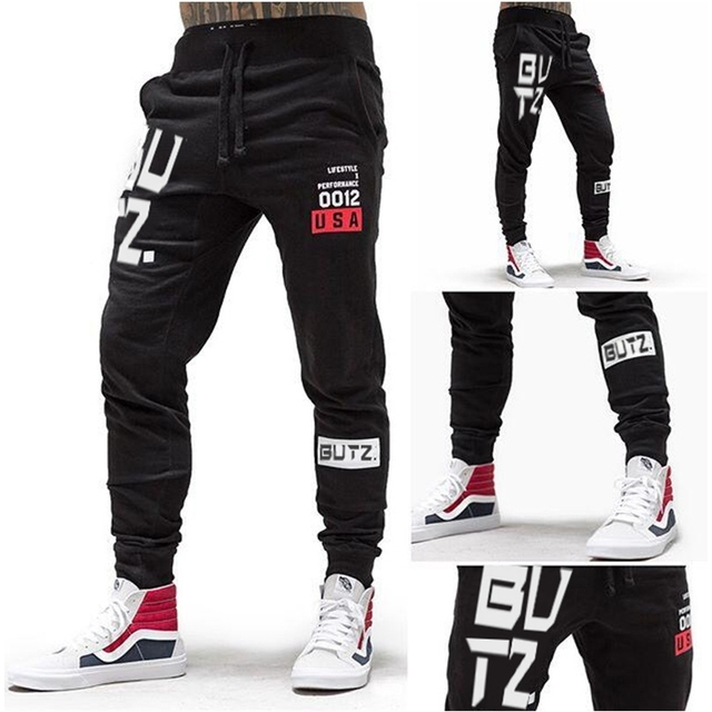 b327cba35b619 Training Pants Men Gym Running Pants Cotton Fitness Clothing Joggers Male  Sweatpants Workout Skinny Trousers Mens Sport Pants