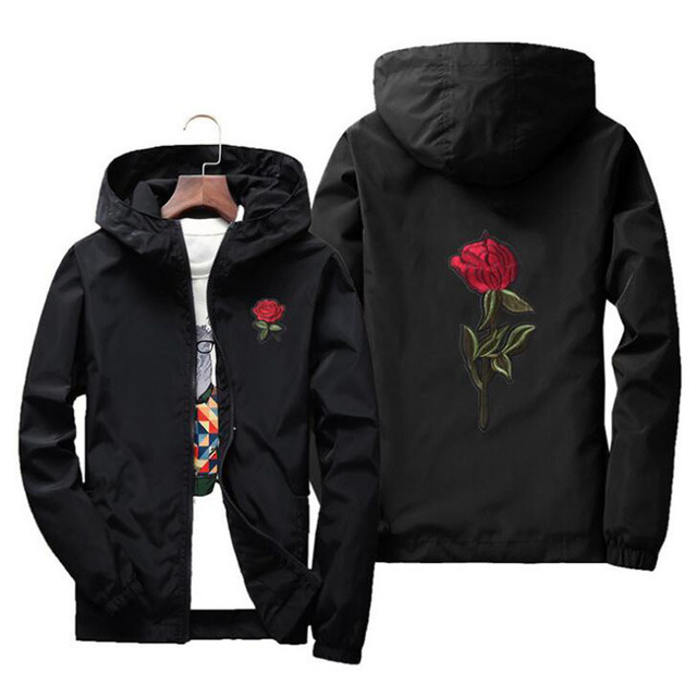 b4ab1374bdd JOOBOX Embroidery Rose Flower windbreaker Jacket men Hooded bomber jacket  Skin Mens Jackets jaqueta masculina Big Size S M 7XL