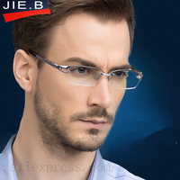 2017 Fashion Pure Titanium rimless eyeglasses frame Brand designer Men Glasses suit reading glasses optical prescpriton lenses