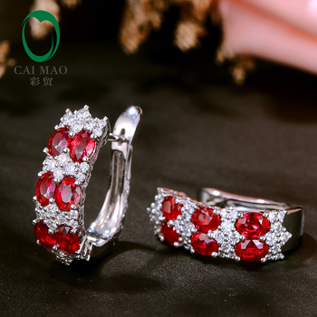 Caimao Natural 2 59ct Red Ruby with 0 74ct Brilliant Cut Diamond 18kt White Gold Earrings.jpg 350x350 - Caimao Natural 2.59ct Red Ruby with 0.74ct Brilliant Cut Diamond 18kt White Gold Earrings for Womens