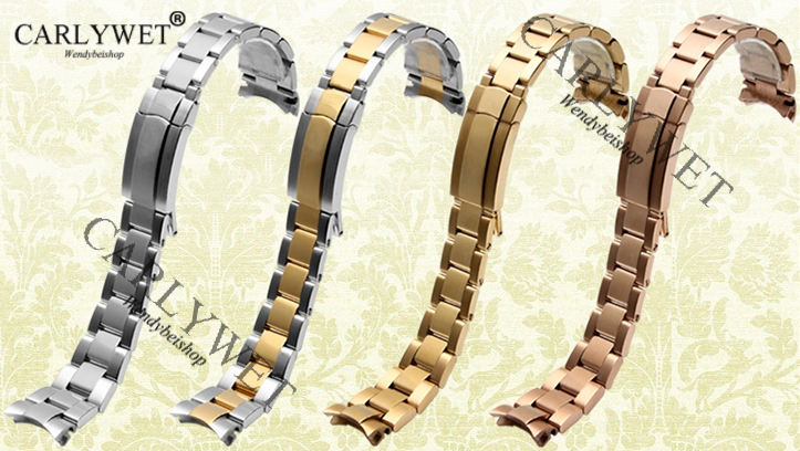 CARLYWET 20mm Newest 316L Stainless Steel Two Tone Rose Gold Silver Solid Curved End Link Deployment Clasp Watch Band Bracelet 20mm 23mm curved end watchbands rubber wrap rose gold stainless steel watch strap solid link bracelet for ar5890 5905 5919 5858