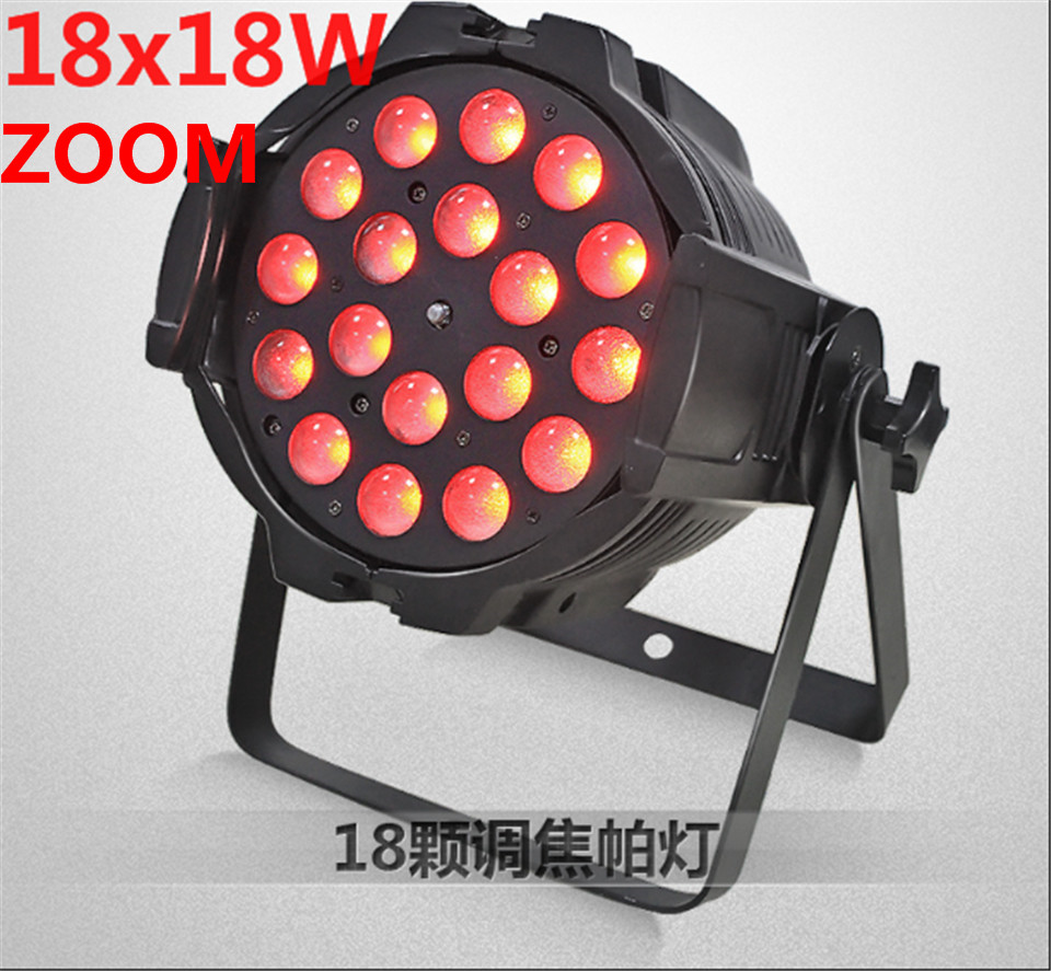 2 pz/lotto 18x18 w zoom par luce dmx luci dj par 64 rgbwa uv 6in1 led par luce per dj party discoteca