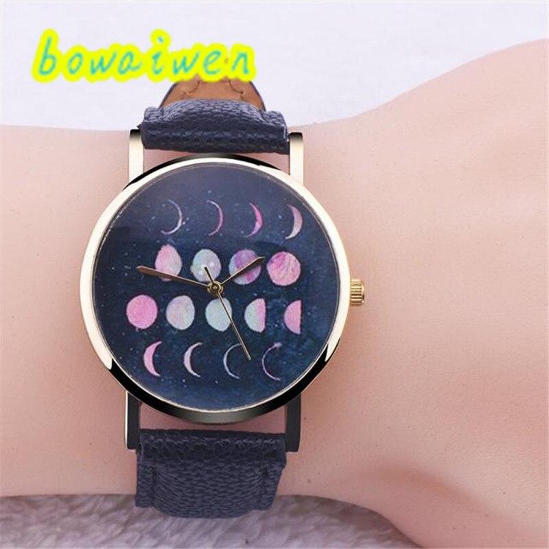Irisshine i0233 Women Watches Women lady girl Lunar Eclipse Pattern Leather Analog Quartz Wrist Watch gift